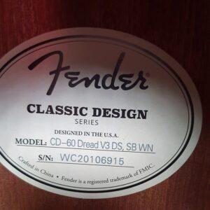 FENDER CD-60 DREAD V3 DS SB WN GITARA AKUSTYCZNA + futerał